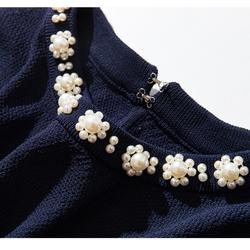 微盐小香风 精致珍珠点缀 小收口袖 圆领针织衫 含20%真丝 上衣女