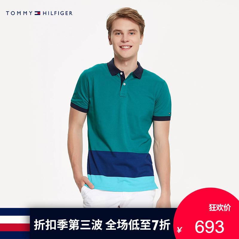 TOMMY HILFIGER男�b2018春夏拼色短袖POLO衫-MW0MW05129OS