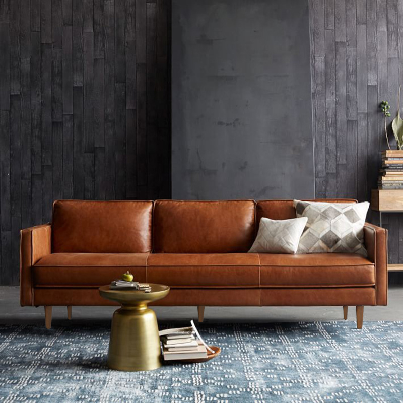 Industrial style Nordic living room double three person leather art sofa small family American retro loft simple leather sofa
