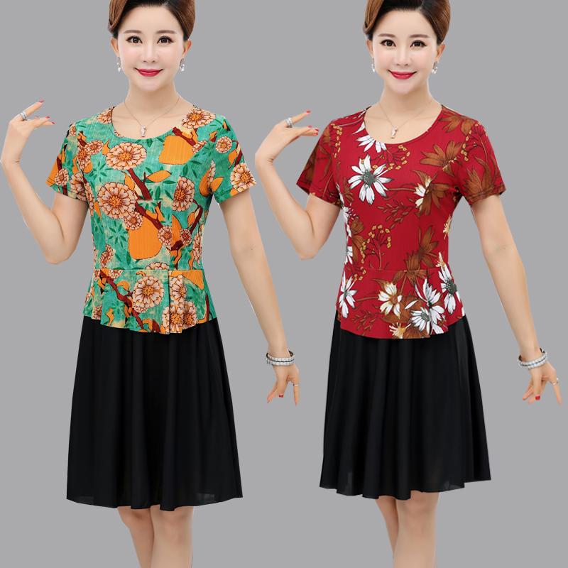 新款中年妈妈夏装连衣裙中长款短袖中老年女装宽松假两件套裙子薄