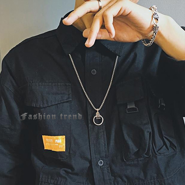 Personality Gothic dark punk style skeleton claw ring necklace Street hip hop students versatile pendant trend