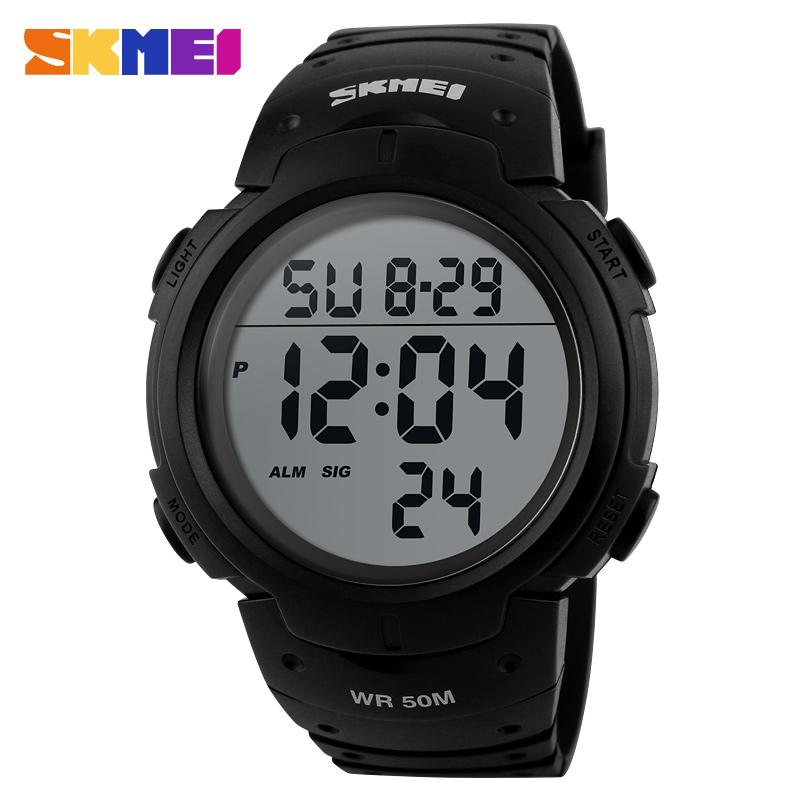 时刻美时尚商务数字多功能LED夜光防水游泳户外运动男士电子手表
