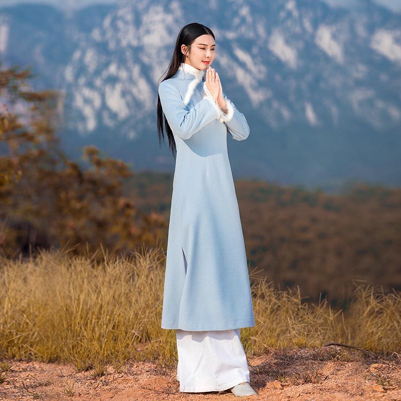 秋冬中国风旗袍改良版汉服毛呢连衣裙中长款复古禅意茶服中式女装
