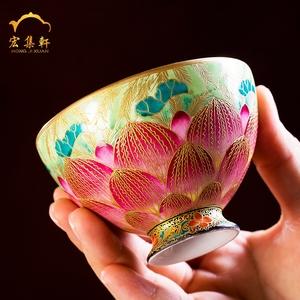 景德镇陶瓷小茶杯纯手工品茗杯个人杯主人杯单杯掐丝珐琅彩茶杯