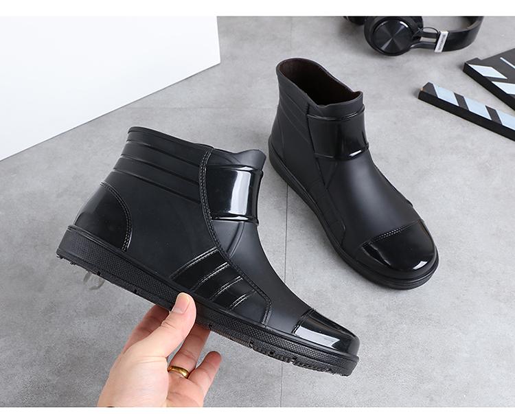 Short water shoes mens rain shoes warm Plush wear resistant anti slip rain boots four seasons kitchen work fishing car washing shoes