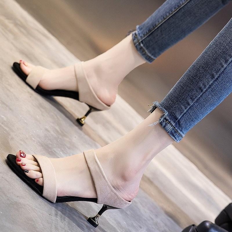 凉鞋女2020新款仙女风夏季女鞋时尚百搭网红超火细跟中跟高跟鞋女