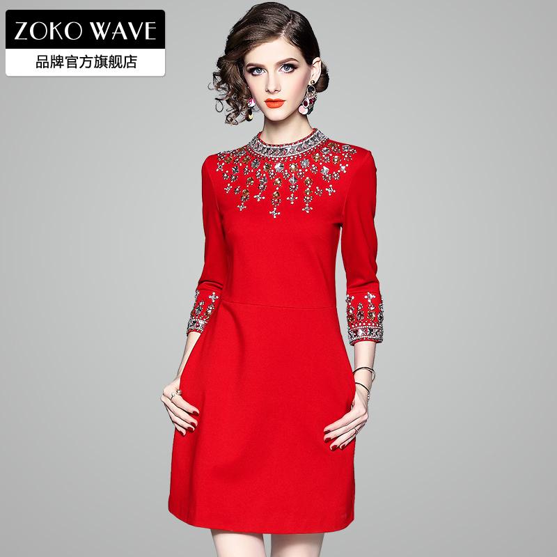 红色连衣裙秋冬裙子2020年新款新年过年喜庆女冬季女装气质本命年