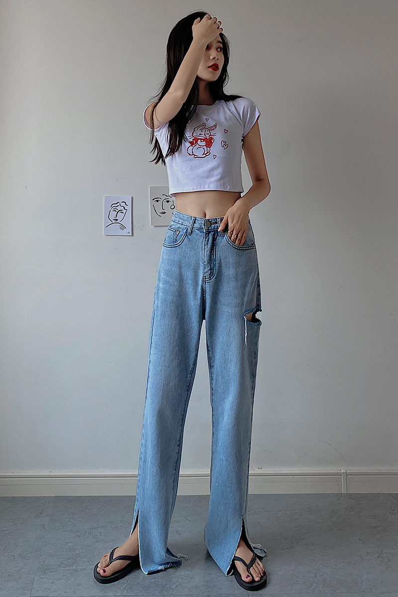 Wy2020 new jeans womens split jeans summer hole trousers high waist loose straight trousers show thin