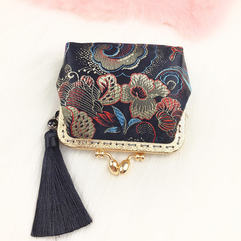 Brocade Satin gold bag retro Chinese style zero purse womens square card pack lipstick storage bag clip