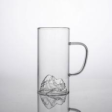 馨玉坊耐热绿茶玻璃杯透明水杯手把富士山茶杯家用办公室创意茶具