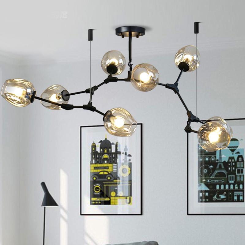 Artists lamp Nordic bedroom study retro simple living room Modao lamp bar iron glass bubble Chandelier