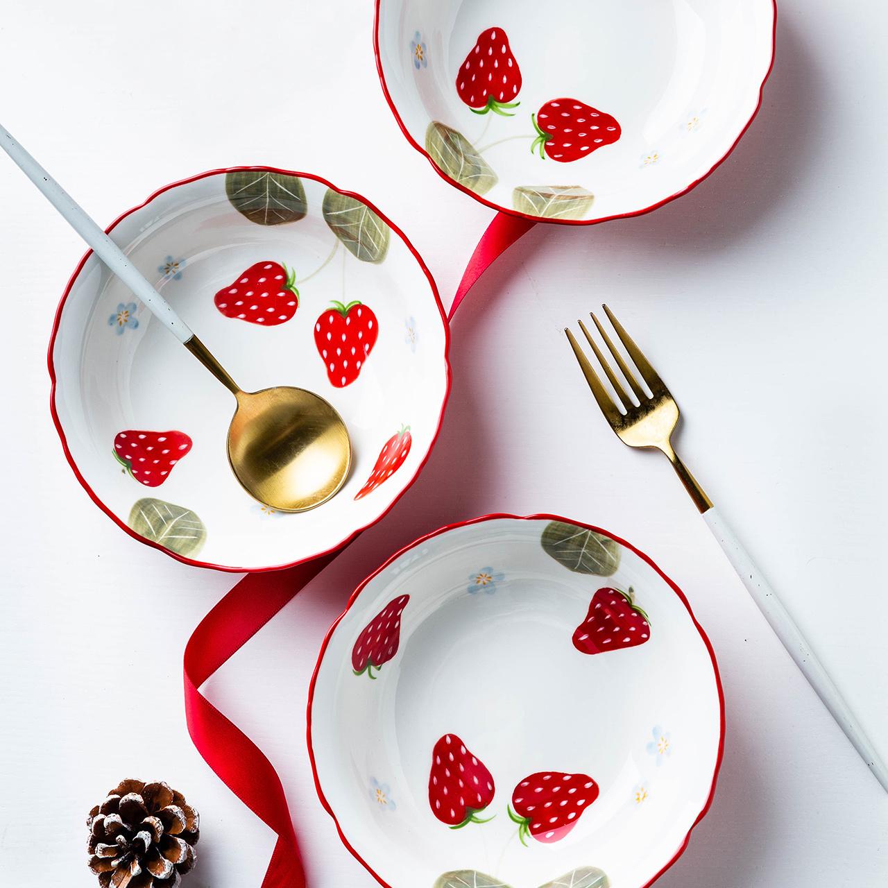 摩登主妇 可爱水果沙拉碗家用陶瓷碗早餐碗创意草莓碗花边甜品碗