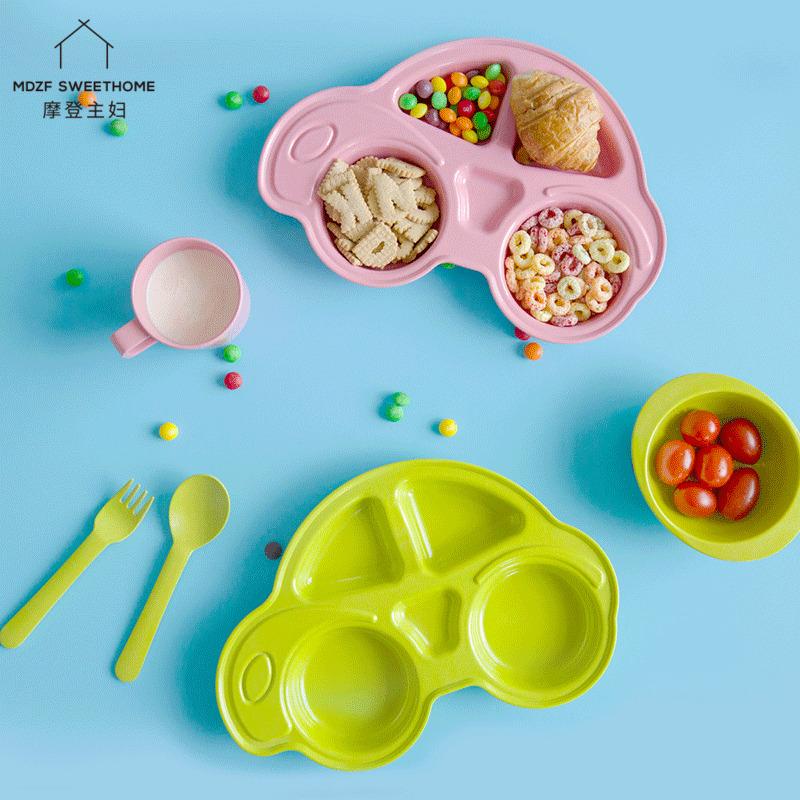 孤品 摩登主婦兒童餐具套裝可降解竹纖維分隔盤米飯碗牛奶杯勺
