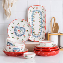 Modern housewife Japanese hand-painted cherry tableware creative ceramic bowl soup noodle bowl dining plate household plate dish plate