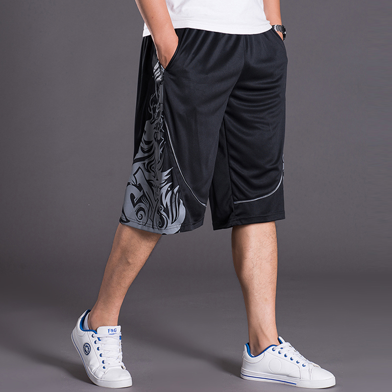 Summer mens fattening plus size basketball pants fat mens loose over the knee Capris youth sports straight pants