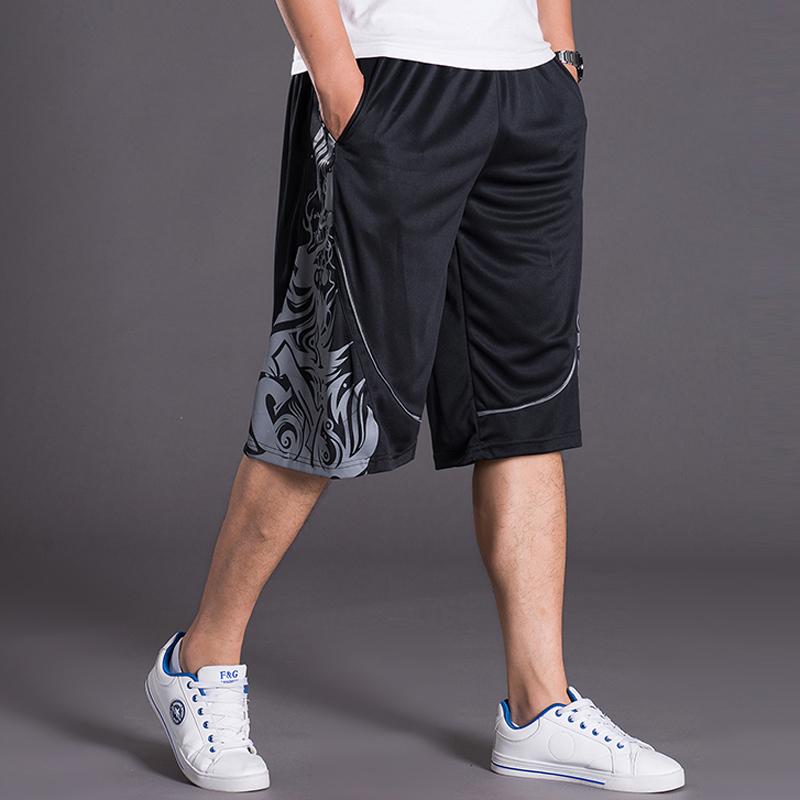 夏季男士加肥加大码篮球裤肥佬宽松过膝五分裤青少年运动直筒短裤