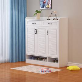 白色柜子储物柜 鞋柜简约现代玄关客厅家用进门口高120大容量收纳