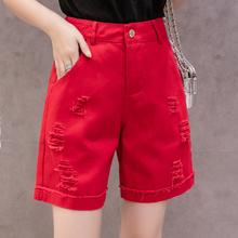 牛仔五分裤女宽松直筒工装5分裤四分短裤女夏季中裤修身短裤显瘦