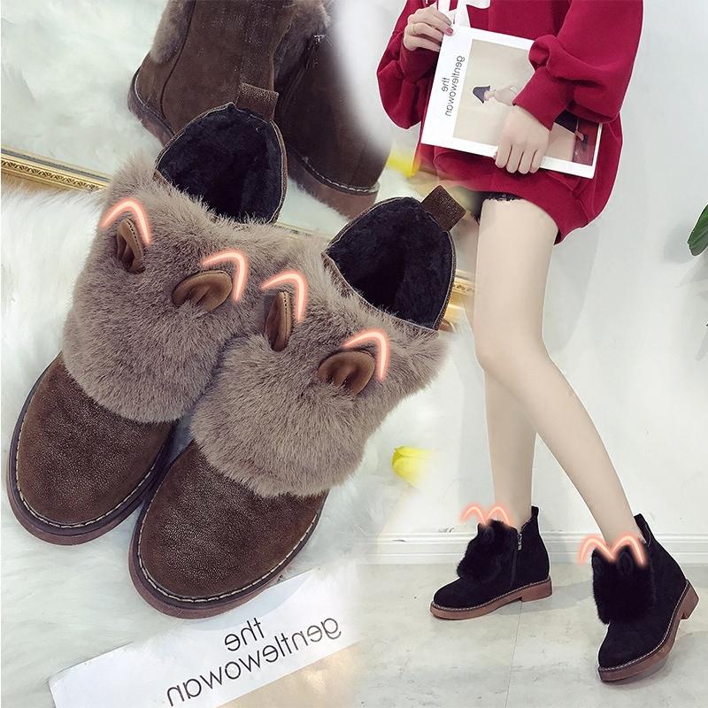 内增高雪地靴女鞋冬季2017新款韩版百搭毛毛鞋平底加绒棉鞋短靴子