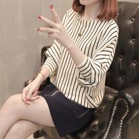 查看2021春秋女蝙蝠袖针织衫长袖新款韩版宽松条纹毛衣外套大码上衣潮价格