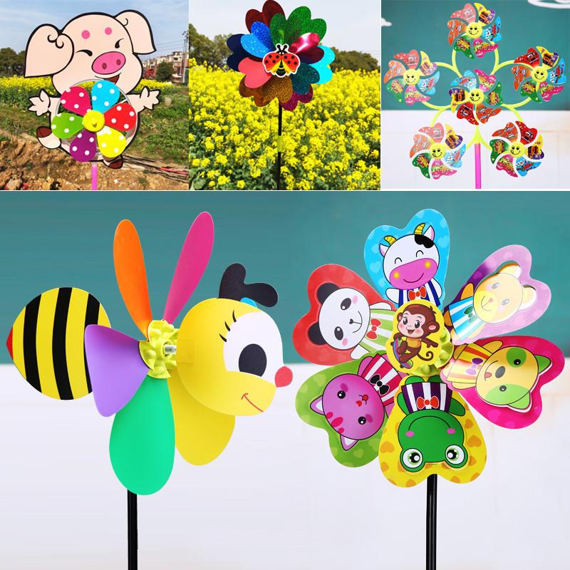 创意户外手工活动幼儿童玩具风车批發地摊货源夜市广场七彩小风车