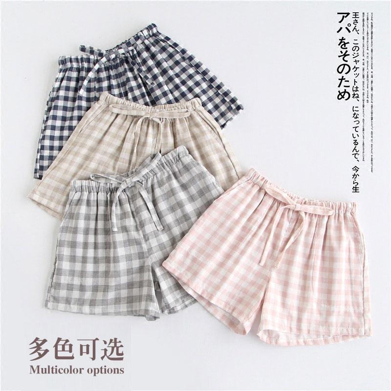 情侣薄款格子睡裤夏纯棉双层男短裤
