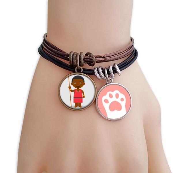 Black wild Kenyan cartoon character black brown bracelet for jewelry cat gift