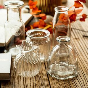 南十字星 现代透明小玻璃花瓶花器 小号水培器皿客厅装饰摆件西风
