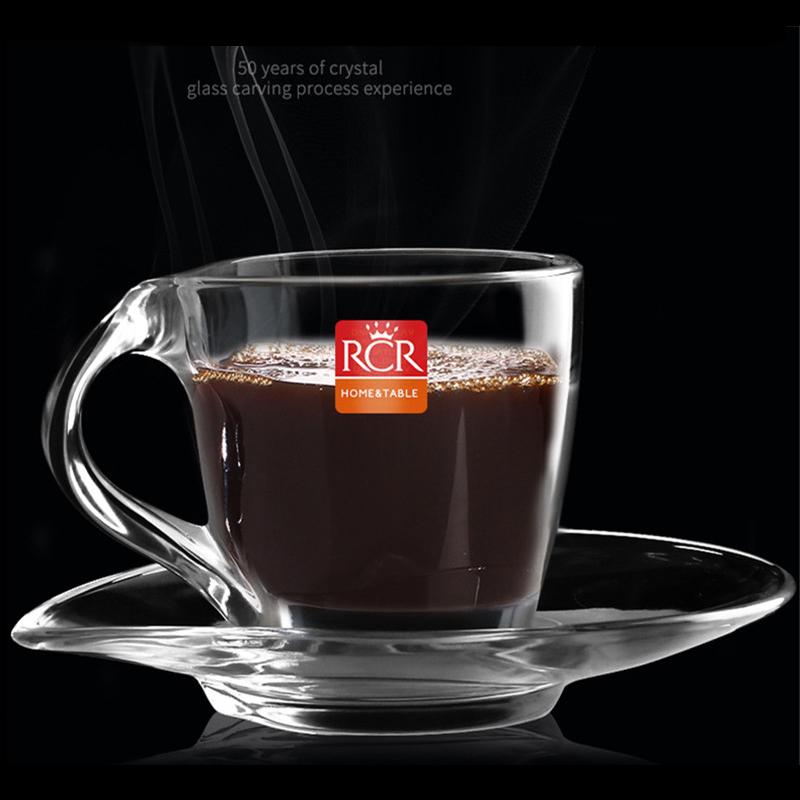 意大利进口水晶玻璃咖啡杯欧式家用带把浓缩胶囊拿铁杯耐热茶杯