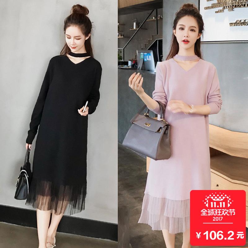 Вязание платье зимой женщина с длинными рукавами поддержка платье 2017 новый свободный корейский длинная модель свитер юбка бедро