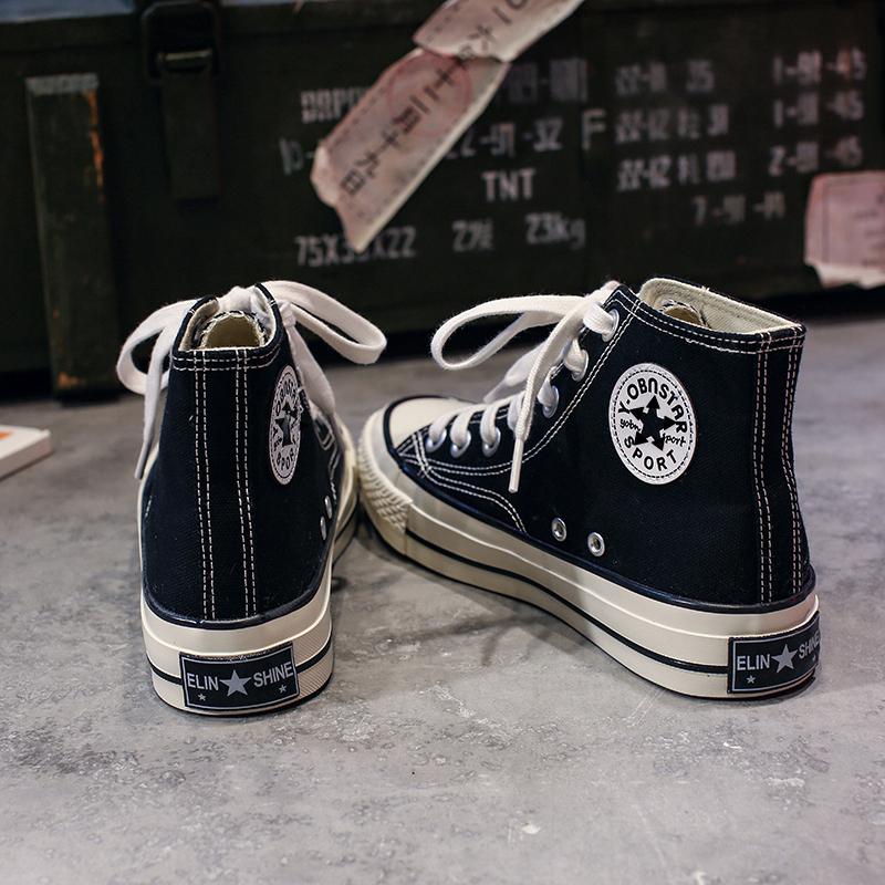 高帮帆布鞋女学生韩版ulzzang2020新款布鞋板鞋百搭鞋子潮鞋2019