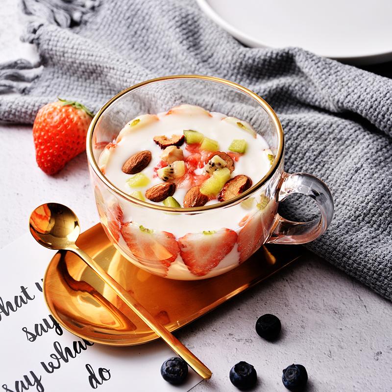 大容量金边早餐杯玻璃马克杯燕麦杯子家用带盖勺可微波牛奶麦片碗图片