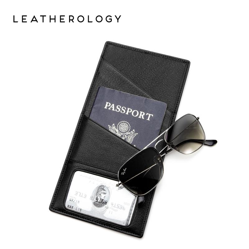 Leatherology真皮旅行护照夹长竖款机票收纳包薄护照包证件保护套
