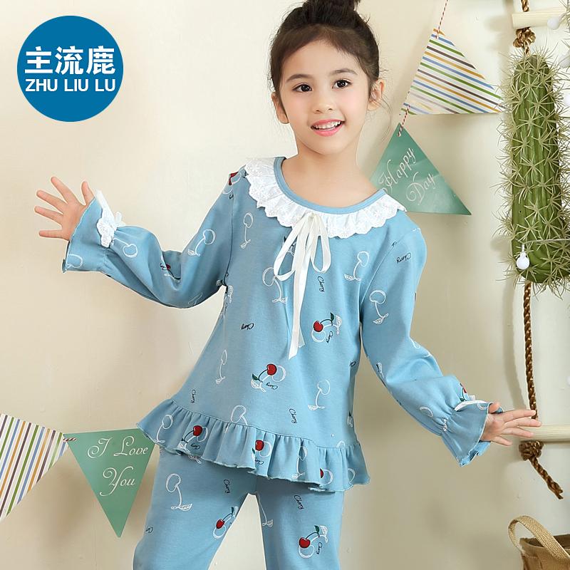 女童夏季睡衣儿童纯棉短袖长袖春秋天家居服孩中大童女孩套装薄款
