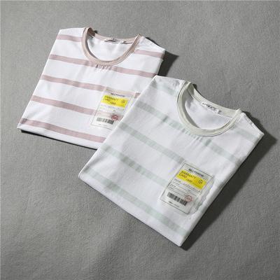 平铺 2019春夏新款潮流男士圆领短袖T恤 绿条纹 QT3020-8801-p45