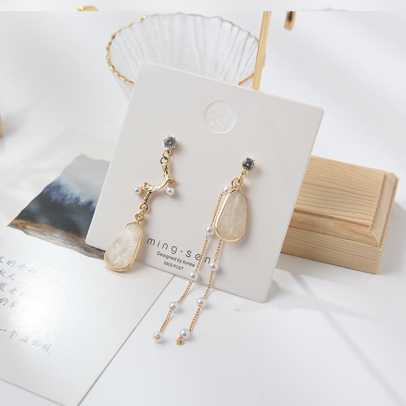 Dissymmetrical Tassel Earrings womens temperament