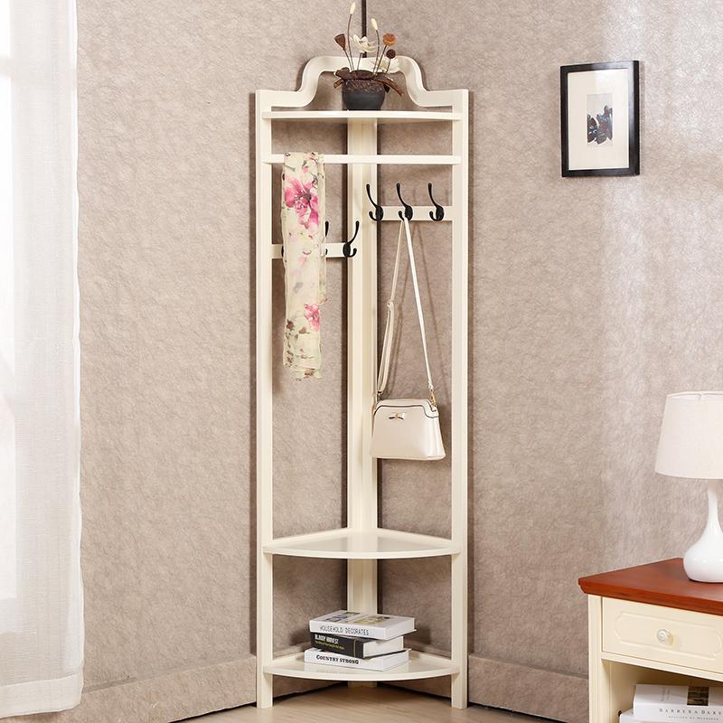 衣帽架落地卧室挂衣架墙角实木置物架简易转角衣服架欧式创意衣架