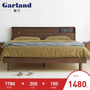 加兰日式纯实木床1.8米双人床现代简约橡木置物卧室家具环保新品