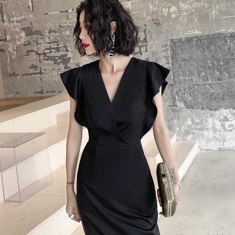 气质晚礼服裙女宴会高贵轻奢黑色小个子平时可穿名媛主持短款高端