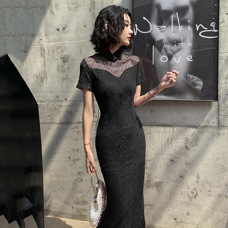 黑色旗袍2019夏款改良版时尚连衣裙满99元可用5元优惠券