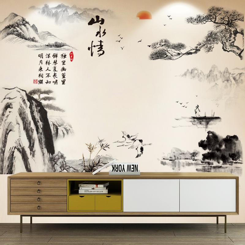 12月01日最新优惠中国风客厅卧室书房电视墙纸贴画