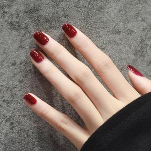指甲油女持久不可撕拉快干免烤无味无毒车厘子酒红色网红款 显白