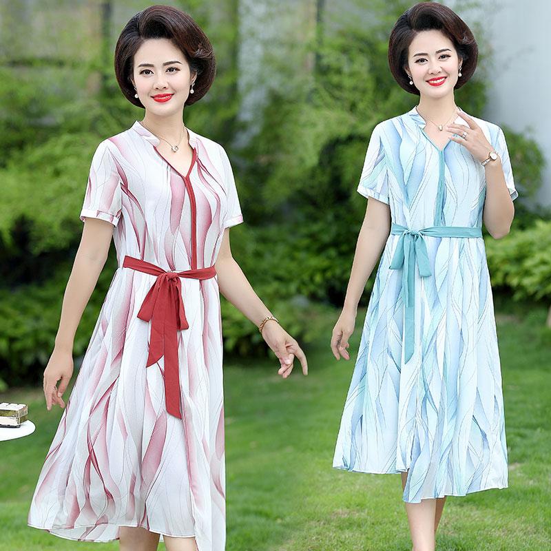 妈妈连衣裙中年女装夏装40雪纺裙子热销2件有赠品