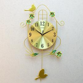 钟表挂钟客厅静音个性家用小鸟时钟创意现代装饰大气卧室时尚挂表
