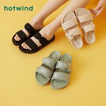 热风一字拖鞋女外穿夏季时尚凉拖黑色沙滩拖2020年新款潮Hotwind