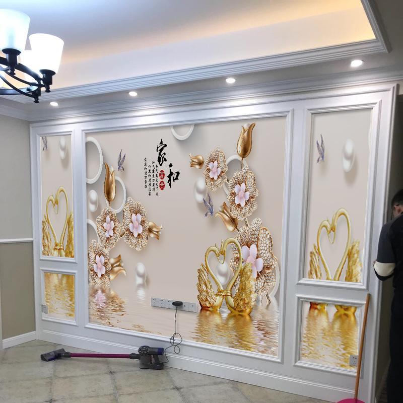 墙纸电视背景墙壁纸3D立体无缝现代简约客厅5D壁画8d影视墙布装饰
