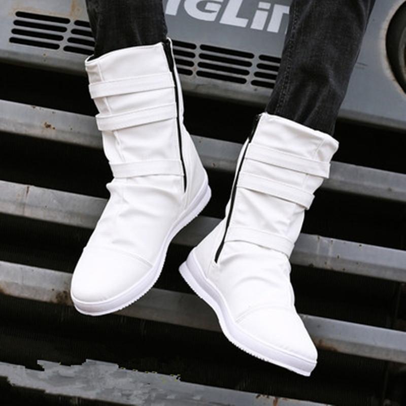 男靴子潮流马丁靴男英伦高帮鞋韩版朋克中筒牛仔皮靴拉链铆钉马靴