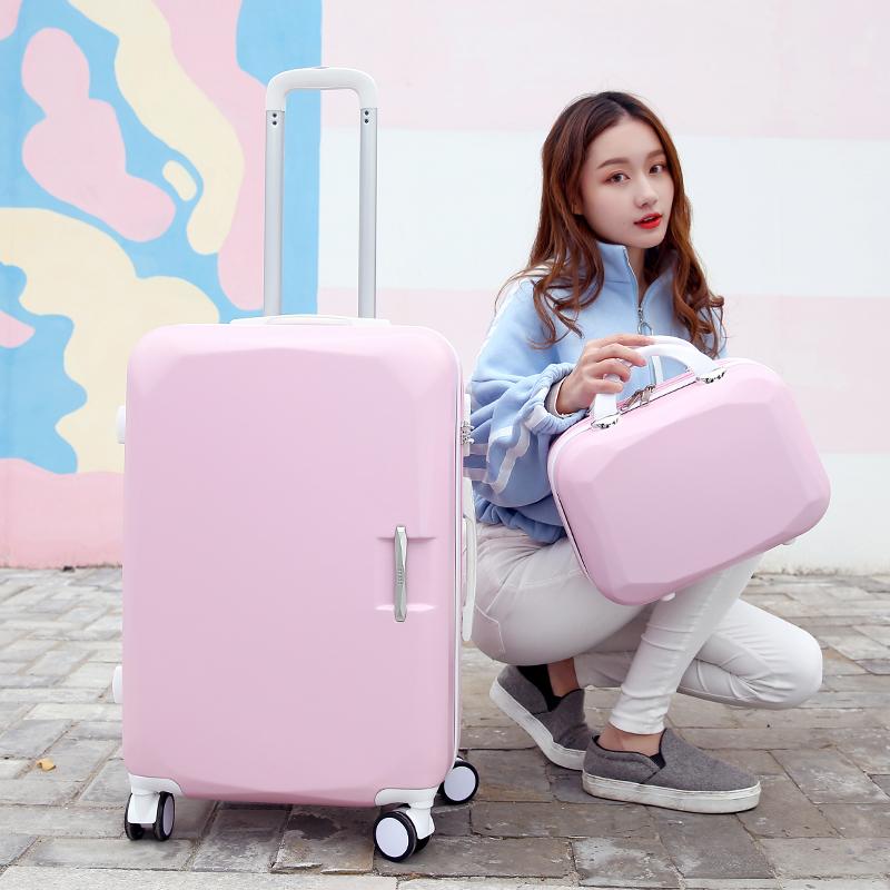 小清新行李箱万向轮旅行箱子母箱网红ins韩版女26/24寸学生拉杆箱