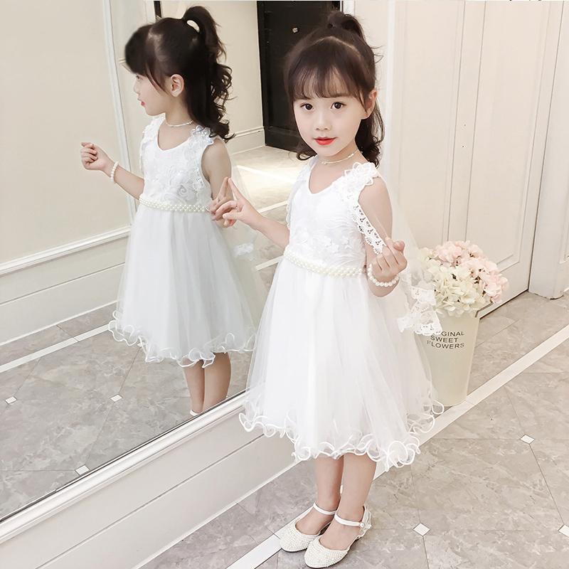 儿童女装时尚亮片公主网纱裙小女孩夏季背心连衣裙公主蝴蝶结裙子