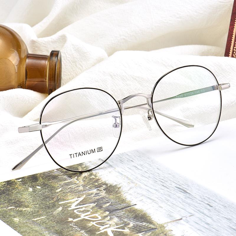 纯钛圆框眼镜架男女韩版潮复古超轻大脸全框眼镜架近视可配防蓝光